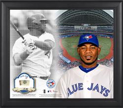 """Edwin Encarnacion Toronto Blue Jays Framed 15"""" x 17"""" Mosaic Collage with Game-Used Baseball-Limited Edition of 99"""