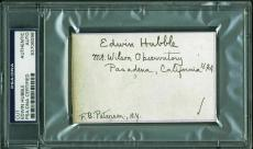 Edwin Hubble ULTRA-RARE Signed Autographed 3x5 Card PSA/DNA