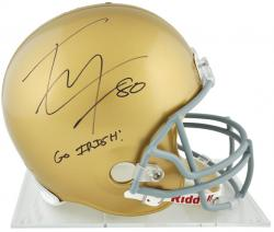 Tyler Eifert Notre Dame Fighting Irish Autographed Riddell Replica Helmet with Go Irish Inscription - Mounted Memories