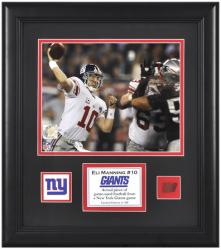 "New York Giants Eli Manning Framed 8"" x 10"" with Game-Used Football"