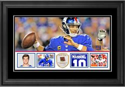 "Eli Manning New York Giants Framed 10"" x 18""  Panoramic with Piece of Game-Used Football - Limited Edition of 250"