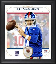 "Eli Manning New York Giants Framed 15"" x 17"" Composite Collage with Piece of Game-Used Football"
