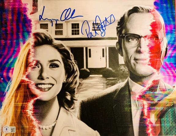 Elizabeth Olsen Paul Bettany Signed 11x14 Photo Wandavision Beckett Witnessed