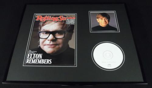 Elton John 16x20 Framed 2011 Rolling Stone Cover & CD Display