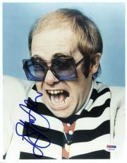 "Elton John Autographed 8""x 10"" Black & White Striped Shirt Photograph -  PSA/DNA COA"