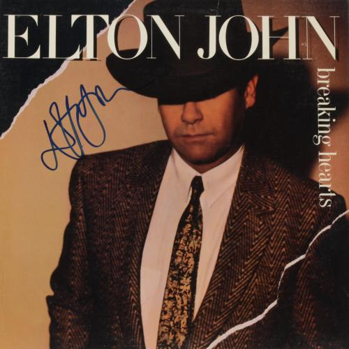 Elton John Autographed Breaking Hearts Album Cover - PSA/DNA COA