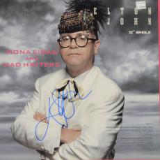 Elton John Autographed Mona Lisas & Mad Hatters Single Album Cover - PSA/DNA COA