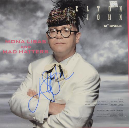 Elton John Autographed Mona Lisas & Mad Hatters Single Album Cover - PSA/DNA COA
