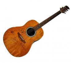 Elton John Jon Bon Jovi Full Band Autographed Ovation Acoustic Guitar UACC RD AF