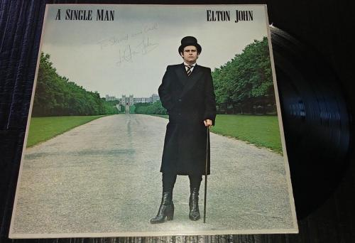 Elton John Music Legend Signed Autographed A Single Man Album Cover W/coa Rare