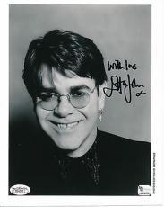 "Elton John Signed Black White 8x10 Photo Auto Jsa Loa ""with Love"" Insc Ph033"