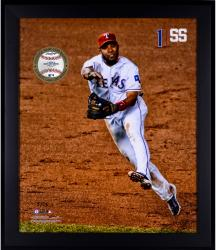 Elvis Andrus Texas Rangers Framed 20'' x 24'' Gamebreaker Photograph with Game-Used Ball - Mounted Memories