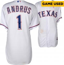 Elvis Andrus Texas Rangers Game-Used White Jersey from 5/11/14 vs. Boston Red Sox