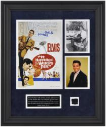 Presley, Elvis Framed Photo (world's Fair) Collage W/ Suit Piece
