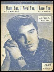 Elvis Presley Signed 9x12 'I Want You...' Sheet Music PSA/DNA #Z06992