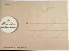 Elvis Presley Signed Autographed Postcard The Sands Hotel Las Vegas Jsa Y96296