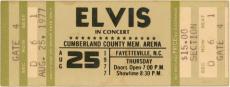 Elvis Presley Unused Concert Ticket 8/25/1977 Fayetteville NC Sec D Row 6 Seat 1