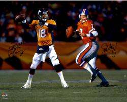 John Elway and Peyton Manning Autographed Broncos 16x20 Photo