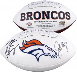 Autographed John Elway & Peyton Manning Denver Broncos Logo Football