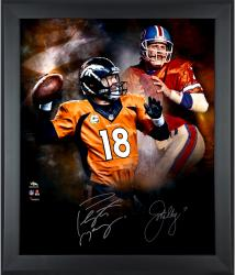 John Elway and Peyton Manning Autographed Broncos Framed In Focus Photo LE24 #7-17