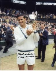Autographed Roy Emerson Photograph - WHITE SWEATER HOLDING TROPHY 8x10 PH Mounted Memories
