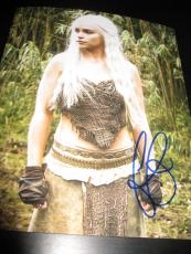 EMILIA CLARKE SIGNED AUTOGRAPH 8x10 PHOTO GAME OF THRONES PROMO COA AUTO RARE D