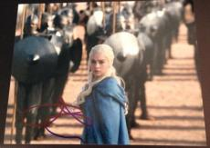"""EMILIA CLARKE SIGNED AUTOGRAPH """"GAME OF THRONES"""" CLASSIC ARMY QUEEN 8x10 PHOTO"""