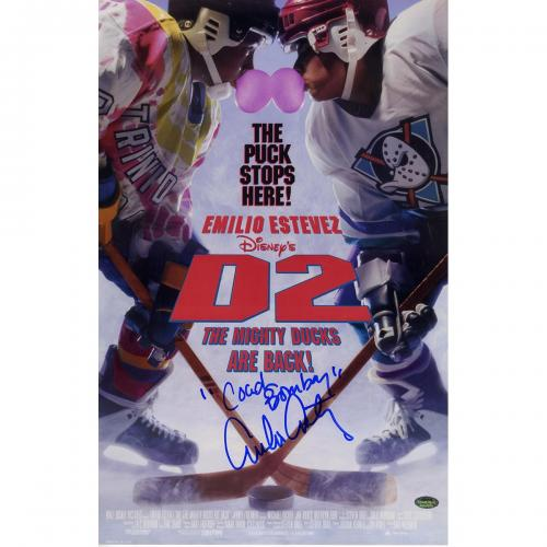 "Emilio Estevez Signed 11x17 D2: Mighty Ducks Poster ""Coach Bombay"" Inscription (SchwartzSports Auth)"