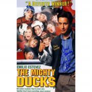 "Emilio Estevez Signed 11x17 Mighty Ducks Poster ""Coach Bombay"" Inscription (SchwartzSports Auth)"