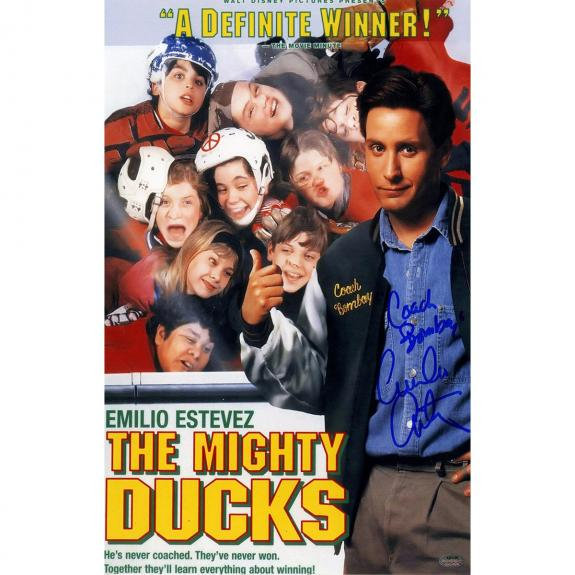 "Emilio Estevez Signed 11x17 Mighty Ducks Poster ""Coach Bombay"" Inscription (SchwartzSports Auth)"