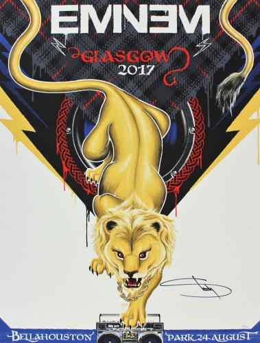 Eminem Signed 18x24 2017 Glascow Concert Poster LE #97/300 JSA #Z81619