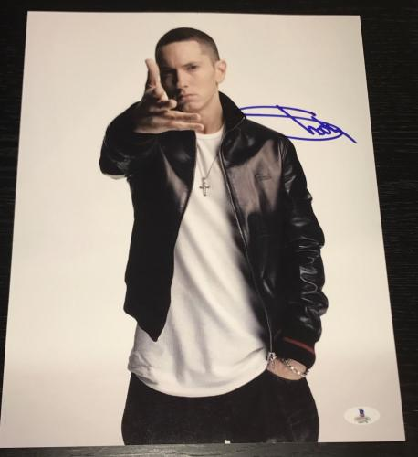 Eminem Signed Autograph Extremely Rare Slim Shady Promo 11x14 Photo Bas Beckett