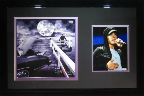 Eminem Signed Framed Authentic 8x10 Photo w/ Slim Shady LP Album PSA/DNA AA00176