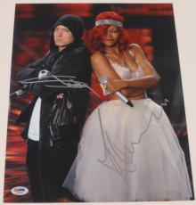 Eminem Slim Shady Marshall Mathers Rihanna Signed 11x14 Photo Autograph Psa/dna