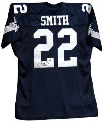 Emmitt Smith Dallas Cowboys Autographed Custom Blue Jersey - Mounted Memories