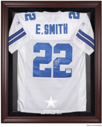 Dallas Cowboys Emmitt Smith Hall of Fame Brown Mahogany Case - Mounted Memories