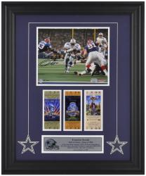 Dallas Cowboys Emmitt Smith Autographed 8'' x 10'' Photo with Super Bowl Ticket - Mounted Memories