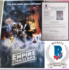 EMPIRE STRIKES BACK signed Cast Poster STAR WARS Mark Hamill PROWSE MAYHEW BAS