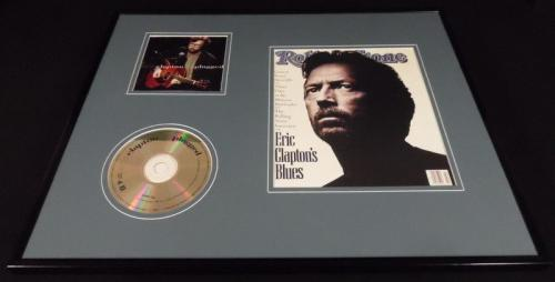 Eric Clapton 16x20 Framed Rolling Stone Cover & Unplugged CD Display