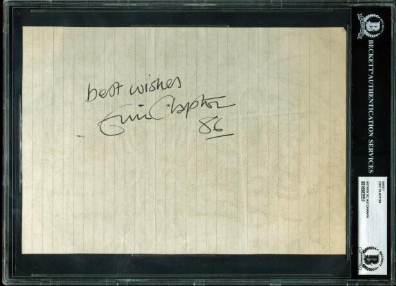"Eric Clapton ""Best Wishes, 86"" Signed 7x10 Sheet BAS Slabbed"