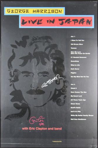 Eric Clapton & George Harrison Signed 1992 24x36 Live In Japan Framed Poster JSA
