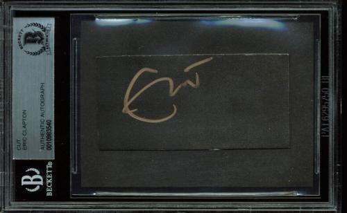 Eric Clapton Signed 1.4x2.85 Cut Signature BAS Slabbed
