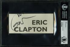 Eric Clapton Signed 2.5x5.75 Cut Signature Autographed BAS Slabbed