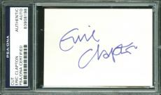 Eric Clapton Signed 3x4 Full Name Cut Signature PSA/DNA Slabbed
