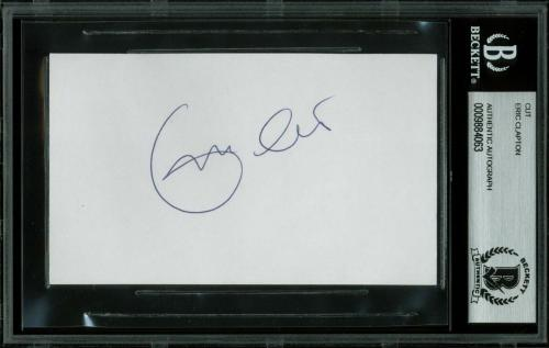 Eric Clapton Signed 3x5 Index Card Autographed BAS Slabbed