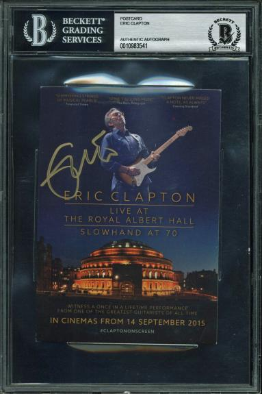 Eric Clapton Signed 4x6 Live At The Royal Albert Hall Postcard BAS Slabbed