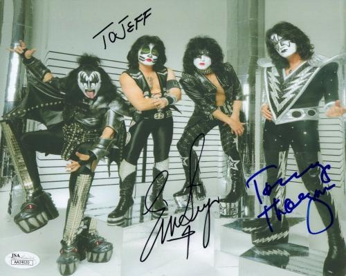 ERIC SINGER+TOMMY THAYER HAND SIGNED 8x10 COLOR PHOTO     KISS    TO JEFF    JSA