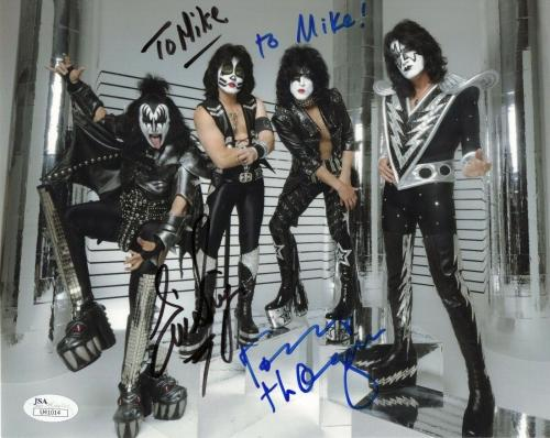 ERIC SINGER+TOMMY THAYER HAND SIGNED 8x10 COLOR PHOTO     KISS    TO MIKE    JSA