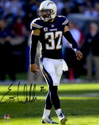 "Eric Weddle San Diego Chargers Autographed Blue Jersey 08"" x 10"" Vertical Photograph"