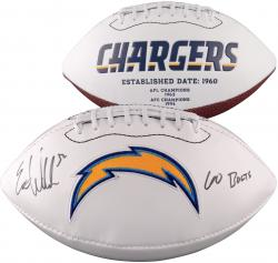 "Eric Weddle San Diego Chargers Autographed "" Go Bolts"" White Panel Football"